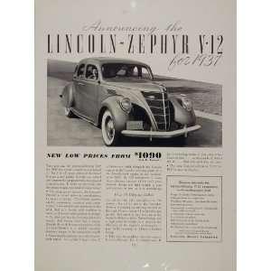 1936 Print Ad 1937 Lincoln Zephyr V12 Cylinder Car Auto