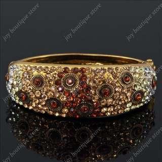 Vintage brown rhinestone elegant fashion jewelry bracelet bangle cuff