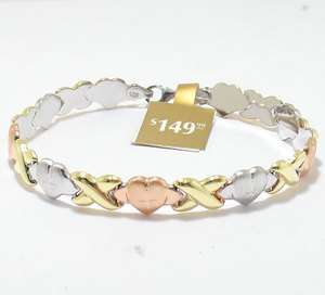 25 Hearts & Kisses Bracelet 14K Yellow White Rose Gold Clad Silver