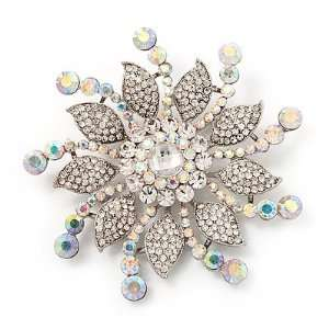 Large Bridal Swarovski Crystal Flower Brooch In Rhodium