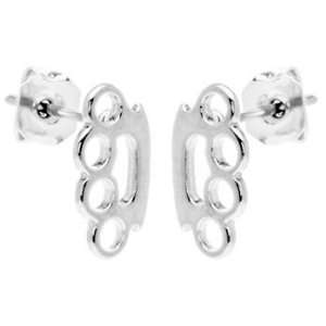 Mini Silver Toned Brass Knuckle Earring Studs: Jewelry