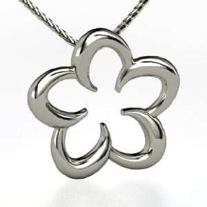 Plumeria Pendant, 14K White Gold Necklace Jewelry