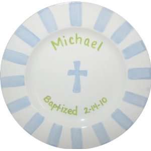 personalized boy baptism plate: Toys & Games