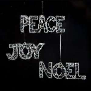36 Ice Palace Mirrored Peace, Joy and Noel Christmas Ornaments 4