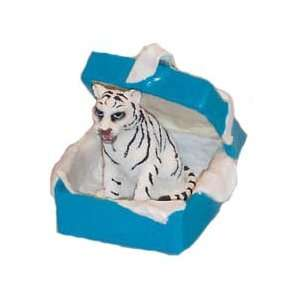White Tiger Unique Gift Box Christmas Ornament New