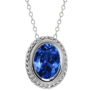 95 Ct Oval Shape Blue Mystic Topaz Sterling Silver Pendant Jewelry