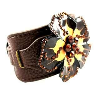 Beautiful Bella Essentials Dark Brown Leather Flower Wide