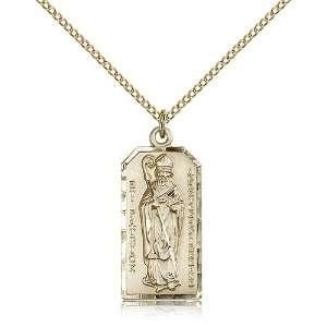 Gold Filled St. Saint Patrick Irish Medal Pendant 1 x 3/8