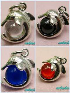 925 Sterling silver Charm Necklace Pendant beads Dolphin 4 Colors ball