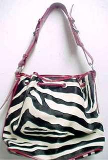 Black / White Zebra Print Drawstring Purse Handbag Color BLACK