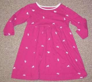 Lands End Raspberry Pink ~Horses~ Dress girl 3T