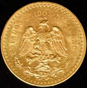 Rare Date 1929 50 Peso Mexico Gold Bullion Coin