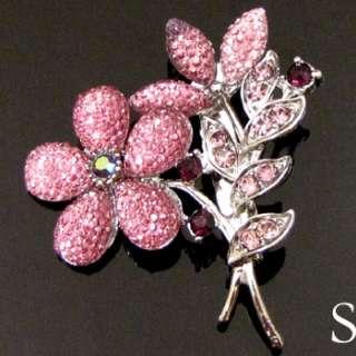ADDL Item  1pc Austrian rhinestone crystal flower brooch