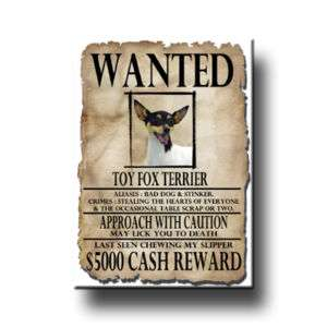 TOY FOX TERRIER Wanted Poster FRIDGE MAGNET Funny DOG