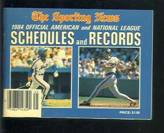 1984 Official American/National League Schedules & Records Book EX