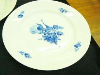 Pair Royal Copenhagen Porcelain Braided Blue Flowers 10 Dinner Plates