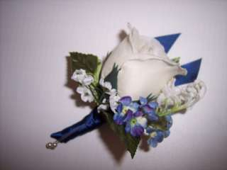 Natural White Silk Rose w/Forget Me Nots Boutonniere Flower Wedding