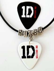 One Direction Guitar Pick Black Leather Necklace + Pick