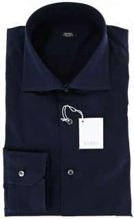 New $325 Barba Napoli Navy Blue Shirt 17.5/44