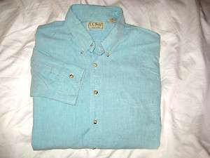 LL BEAN USA SOFT COTTON AQUA MARINE L/S COTTON OXFORD SHIRT  XL/TALL