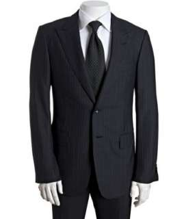 Gucci black pinstripe wool blend two button suit with flat front pants