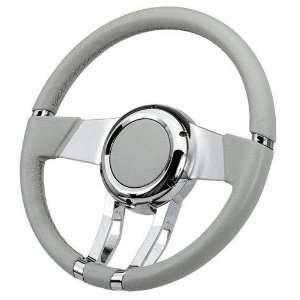 FR20150LG Steering Wheel WaterFall 14in Light Grey Leather Automotive
