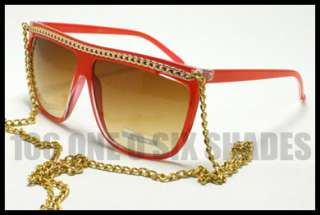 Celebrity Silver CHAIN Sunglasses Lady Flat Top BLACK