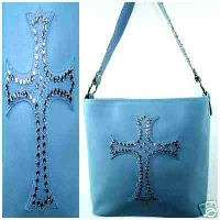 BLUE WESTERN RHINESTONE STUDDED CROSS PURSE HANDBAG
