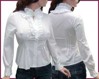 Sexy Long Sleeved Shirt Ruffles Blouse Top White  3XL