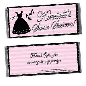 Sweet 16 Party Dress Personalized Candy Bar Wrappers   Qty