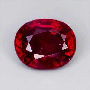 AIGS CERTIFIED UNHEATED 1.24ct OVAL MONZA RED RUBY