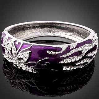 Purple Enamel Swarovski Crystal White Gold GP Bracelet