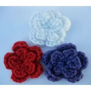 30pc Assorted White&Red&Blue Large Crochet Flower Applique