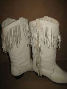Vintage White Leather Fringe Southwest Cowboy Boots Women 7 M Unique