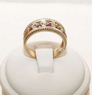 Estate 14K Solid Gold .82ct Ruby & Diamond Womans Band Ring