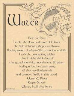 Water Evocation Parchment Poster or Book of Shadows Page!