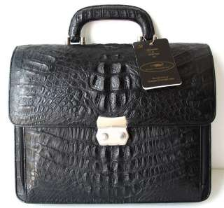 100% GENUINE CROCODILE LEATHER BRIEFCASE BUSINESS BAG BLACK BRAND NEW