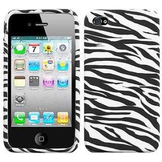 BLACK ZEBRA SILICONE RUBBER SOFT GEL SKIN CASE COVER APPLE IPHONE 4 4S
