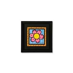 Romero Britto Black Framed Poster Blue Flower Everything