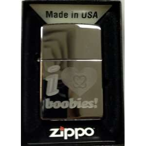 Zippo Custom Lighter   I Love Boobies High Polish Chrome