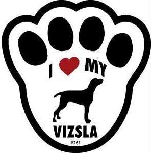 I Love My Vizsla Dog Pawprint Window Decal w/Suction Cup
