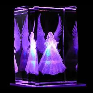 Angel Praying 3D Laser Etched Crystal includes Two Separate LEDs