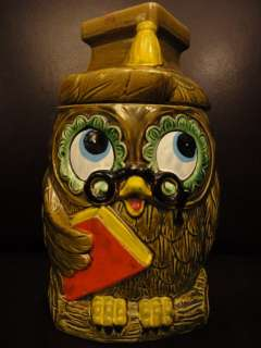 Vintage 70s Bookworm Nerdy Professor Owl Cookie Jar