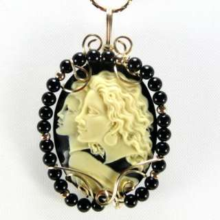 Guardian Angel Cameo Pendant 14K Rolled Gold Jewelry With Onyx