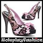ELLIE SHOES BETTIE PAGE SEXY PLATFORM FUCHSIA LEOPARD PUMPS HEELS