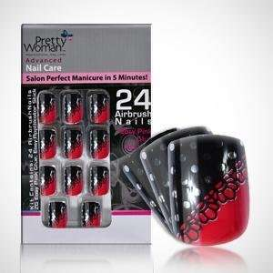 Pretty Woman Metallic Nails   Red & Black with Dots & Flower Design