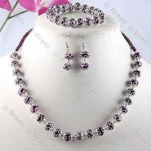 1Set Dark Purple Crystal Glass Flower Bead Cap Necklace Bracelet
