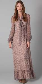 RED Valentino Long Sleeve Floral Maxi Dress