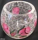 Rose Candle Holder   Pink   Crackle Glass Style   Hand Painted
