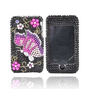 For iPhone 3G 3GS Bling Hard Case PINK BUTTERFLY BLACK
